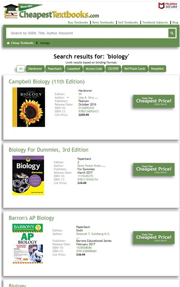 CheapestTextbooks.com Search Page