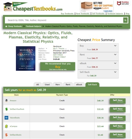 CheapestTextbooks.com Sell Back Page